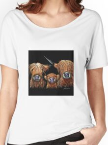 Scottish Highland Cows 'WE 3 COOS on BLACK' by Shirley MacArthur Women's Relaxed Fit T-Shirt