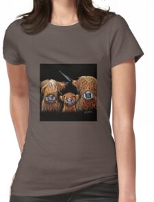 Scottish Highland Cows 'WE 3 COOS on BLACK' by Shirley MacArthur Womens Fitted T-Shirt
