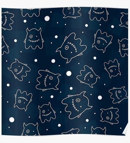 Seamless pattern with outlines of monsters Poster