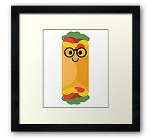Burrito Emoji Nerd Noob Glasses Framed Print