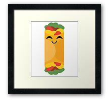 Burrito Emoji Happy with Joy Framed Print