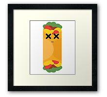 Burrito Emoji Faint and Knock Out Framed Print