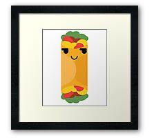 Burrito Emoji Cheeky and Up to Something Framed Print
