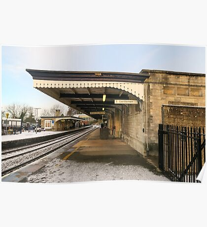 Stroud railway station in the snow Poster