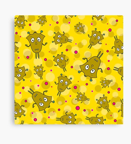 Seamless pattern with cartoon monsters Canvas Print