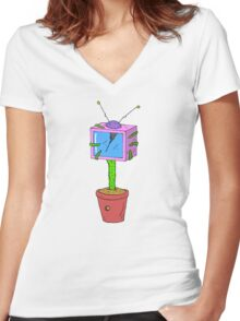 Plant TV Women's Fitted V-Neck T-Shirt