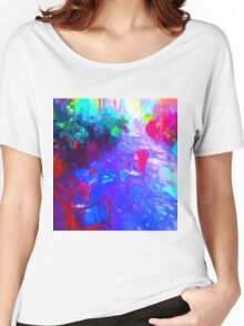 garden flowers patio chairs impressionist Women's Relaxed Fit T-Shirt