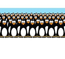 Pensive Penguin Army Photographic Print