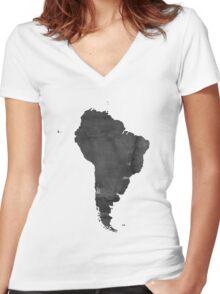 Black and white WATERCOLOR Handmade poster. Continent poster South America MAP, South America Map, Watercolor Painting. Watercolor poster Women's Fitted V-Neck T-Shirt