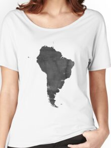 Black and white WATERCOLOR Handmade poster. Continent poster South America MAP, South America Map, Watercolor Painting. Watercolor poster Women's Relaxed Fit T-Shirt
