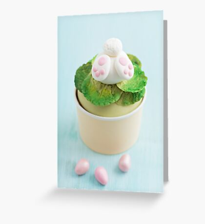 Easter bunny cupcake on blue Greeting Card