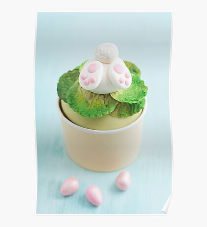 Easter bunny cupcake on blue Poster