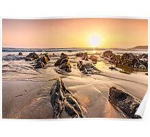Golden sunset at Combesgate beach Poster