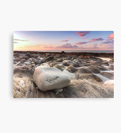 Colourful sunset at Westward Ho! beach Canvas Print