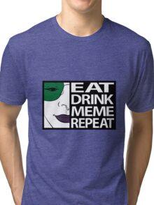 Brydie Eats Sleep Meme Repeat - Colour Bordered Tri-blend T-Shirt