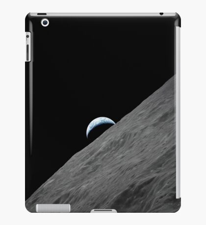 The crescent Earth rises above the lunar horizon. iPad Case/Skin