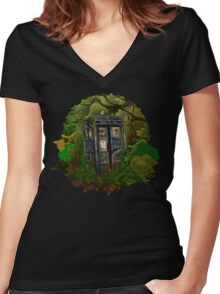 Abandoned time and space traveller Blue Phone Box Women's Fitted V-Neck T-Shirt