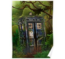 Abandoned time and space traveller Blue Phone Box Poster