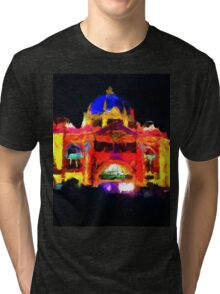 flinders st station melbourne victoria abstract Tri-blend T-Shirt
