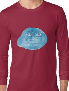 Wabi Sabi Beauty in Imperfections - Blue Watercolor Long Sleeve T-Shirt