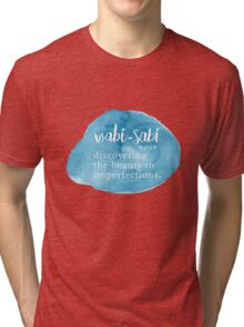 Wabi Sabi Beauty in Imperfections - Blue Watercolor Tri-blend T-Shirt