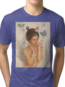 Girl with butterflies Tri-blend T-Shirt