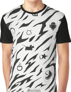 Zebra Camouflage Muster mit Linux Logos Graphic T-Shirt