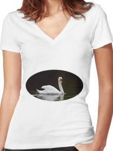 Beautiful white swan  Women's Fitted V-Neck T-Shirt