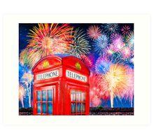 British Celebration With Fireworks - Red Telephone Box Art Print