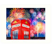 British Celebration With Fireworks - Red Telephone Box Art Print
