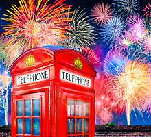 British Celebration With Fireworks - Red Telephone Box by Mark Tisdale