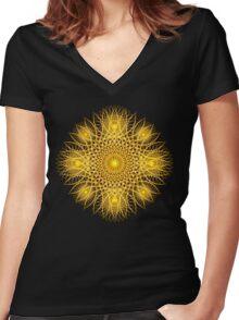 Sun Flake Mandala Women's Fitted V-Neck T-Shirt