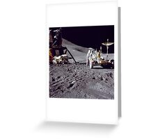 Apollo 15 astronaut loads the lunar rover with tools and equipment. Greeting Card