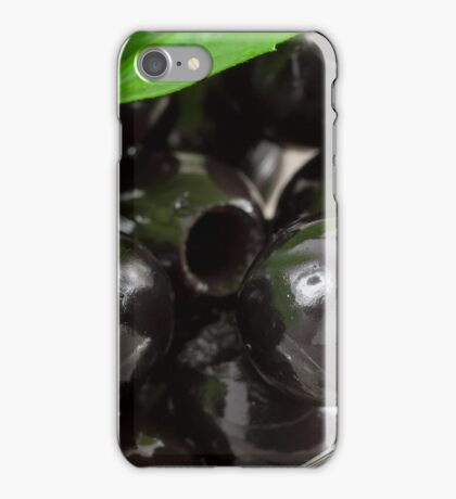 Black olives, pitted marinated in a glass bowl iPhone Case/Skin