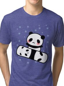 Panda Snowboard Emoji Face Cute Blush Cheek  Tri-blend T-Shirt