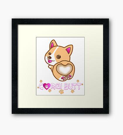 Corgi Butt Dog Breed Cute Pink Paw Prints Gift Framed Print