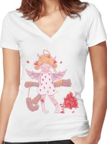 Valentine's day. Naughty cute curly Cupid-girl with slingshot  Women's Fitted V-Neck T-Shirt
