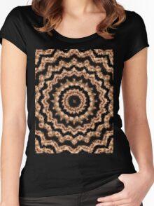Kaleidoscope Beige Circular Pattern on Black Women's Fitted Scoop T-Shirt