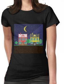 Vector illustration: colorful houses at night. Suburbs landscape. Flat design. Tenement houses Womens Fitted T-Shirt