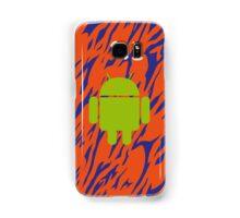 Android Logo mit Zebramuster in orange/blau Samsung Galaxy Case/Skin