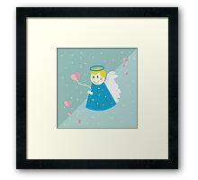 Vector illustration: simple flat angel design. Valentine's day. Cupid illustration. Design for children Framed Print