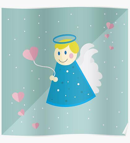 Vector illustration: simple flat angel design. Valentine's day. Cupid illustration. Design for children Poster