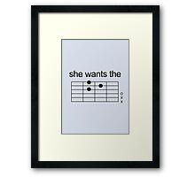 She Wants The D - Guitar Chord [BLACK] Framed Print