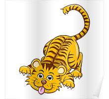 Funny playing cartoon tiger Poster