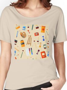 Tools and Materials for Creativity and Painting Seamless Pattern Women's Relaxed Fit T-Shirt