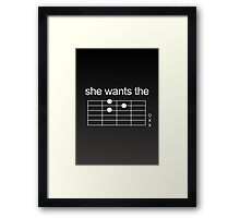 She Wants The D - Guitar Chord [WHITE] Framed Print