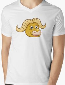 Head of friendly smiling cartoon buffalo Mens V-Neck T-Shirt