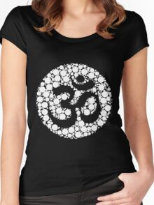 Om Symbol Circles Inverted White Women's Fitted Scoop T-Shirt