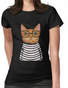 cute girl cat glasses Womens Fitted T-Shirt