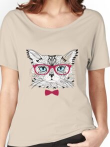 cute girl cat glasses Women's Relaxed Fit T-Shirt